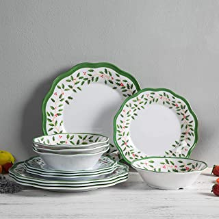 Melamine Dinnerware Set - 12pcs Dinner Dishes set for Everyday Use, Service for 4,Dishwasher safe
