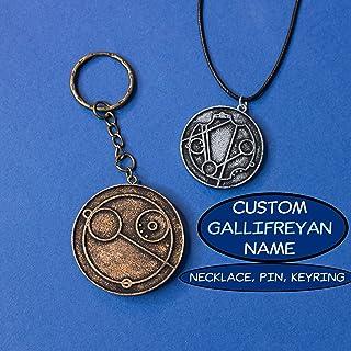 Gallifreyan Nome personalizzato in resina, collana, portachiavi o spilla, Colore argento o bronzo, regalo whovian