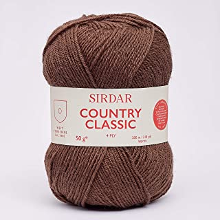 Sirdar Country Classic 954 Pelote de fils à tricoter 4 plis Marron chocolat 50 g