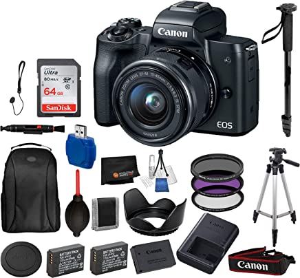 $649 » Canon EOS M50 Mirrorless Digital Camera with 15-45mm Lens (Black) and 16PC Accessory Bundle – Includes SanDisk Ultra 64GB SDXC Memory Card + 2X Extended Life Replacement Battery (LP-E12) + More