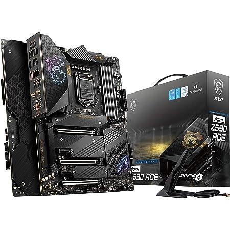 MSI MEG Z590 ACE Gaming Motherboard (ATX, 11th/10th Gen Intel Core, LGA 1200 Socket, SLI/CFX, DDR4, PCIe 4, M.2 Slots, USB 3.2 Gen 2, Wi-Fi 6E, Mystic Light RGB)