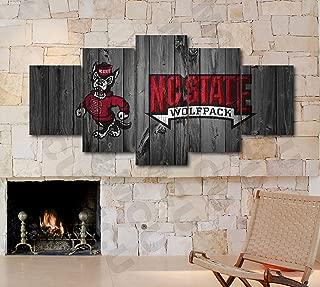 5 Piece American Football College University Teams Art Decor Wall Poster (5 Piece Medium, NC State Wolfpack)
