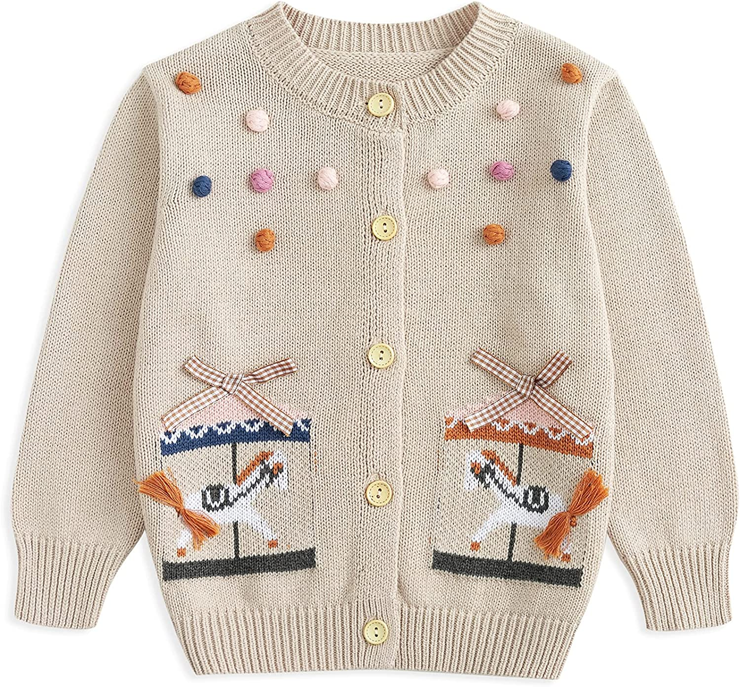 Curipeer Little Girls Cardigan Sweater Buttons Long Sleeve Toddler Knitted Jacket 2-8Y