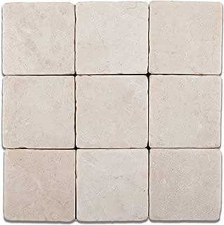 Turkish Crema Marfil Marble 4 X 4 Tumbled Field Tile - 4-pcs. Sample-Set