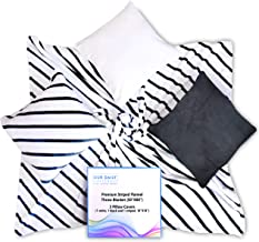 Our Daily Life Throw Blanket with Pillow Covers - Black & White Stripes Fleece Blanket with 3 Throw Pillow Covers - Soft F...