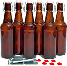 Otis Classic Swing Top Glass Bottles with Lids - Set of 6, 16oz, Flip Top Stoppers- Second Fermentation, Limoncello, Kombucha, Water Kefir, Brewing Beer