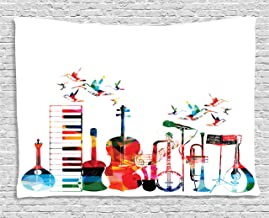 Ambesonne Music Tapestry, Colorful Musical Instruments Keyboard Guitar Banjo Trumpet Cello and Flying Birds, Wide Wall Hanging for Bedroom Living Room Dorm, 80