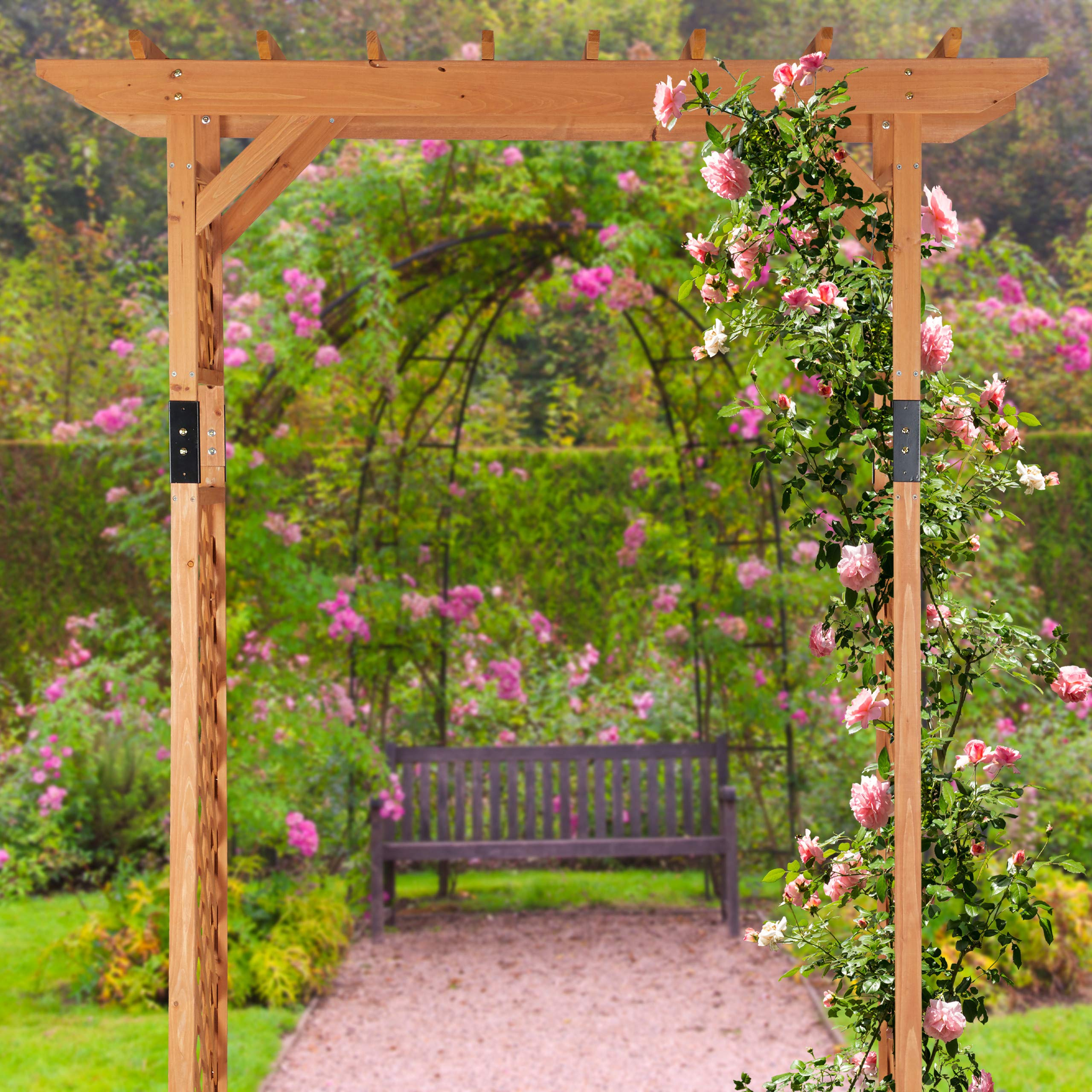 Relaxdays Pérgola de jardín, Arco para Rosas, Soporte para Plantas, Madera, 230x162x79 cm, Naranja: Amazon.es: Jardín