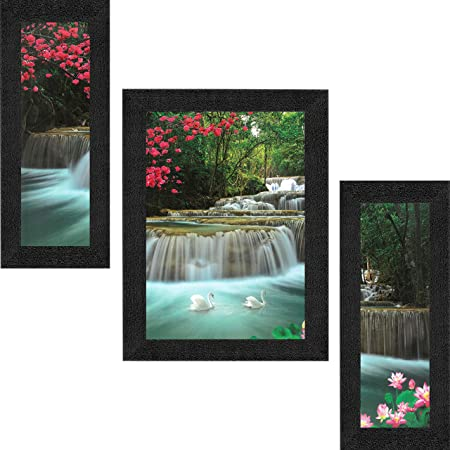 SAF Set of 3 Waterfall Nature UV Coated Home Decorative Gift Item Framed Painting 13.5 inch X 22.5 inch SANFSAA9186