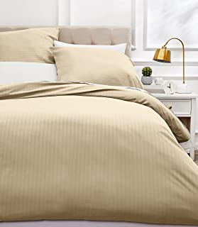 Amazon Basics Parure de Lit avec Housse de Couette Haut de Gamme avec 2 Taies d'Oreiller, 230 x 220 cm, Beige
