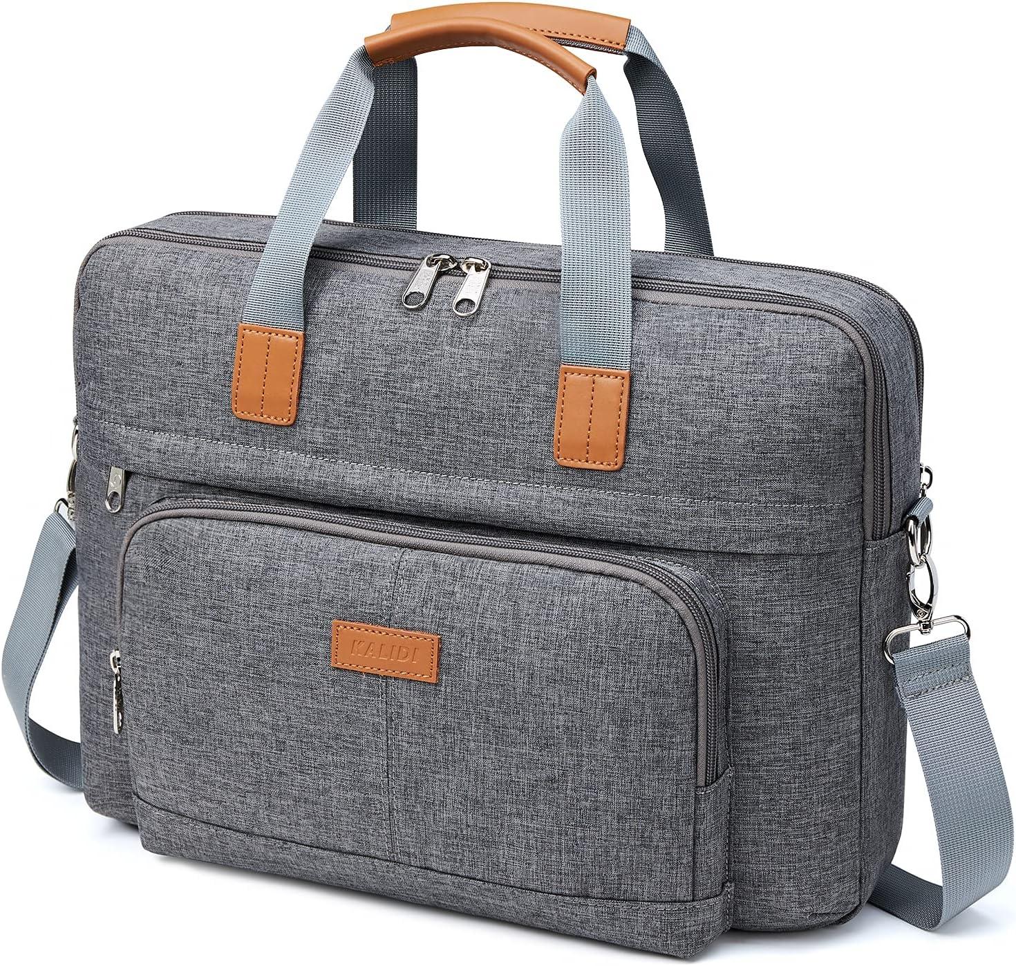 KALIDI Messenger Bag, 15.6 Inch Laptop Brief Shoulder Bag for MacBook Dell Alienware Lenovo HP Travel Business College Office (Grey, 14.5-16 inches)