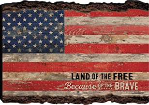 P. Graham Dunn Patriotic American Flag Land of The Free Distressed 4 x 6 Wood Bark Edge Design Sign