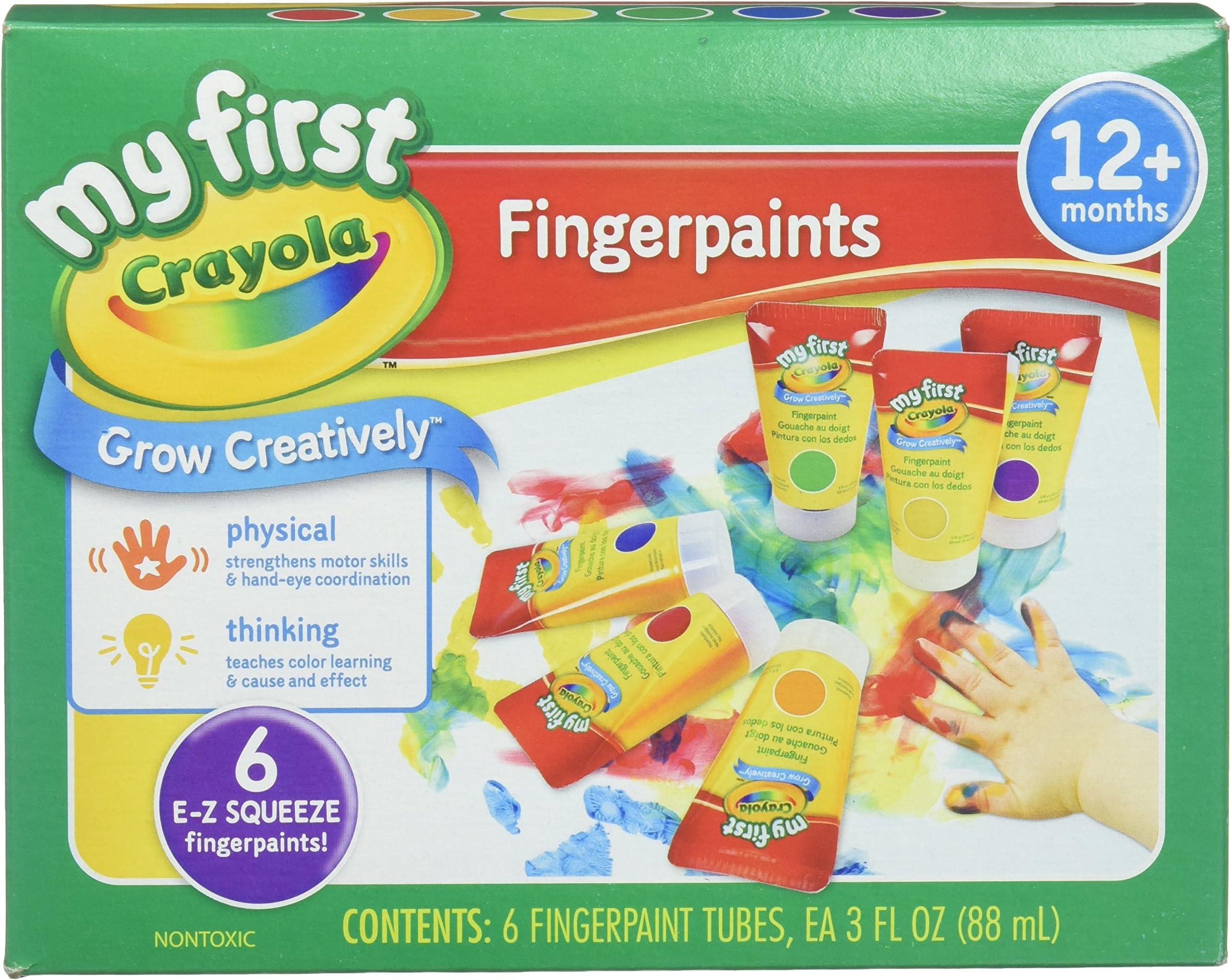 School Smart 2002433 Washable Finger Paints Assorted Primary Grade: Kindergarten to 12 Pints Pack of 6
