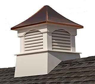 """Good Directions Vinyl Coventry Louvered Cupola with Pure Copper Roof, Maintenance Free Solid Cellular PVC Vinyl, 18"""" x 2..."""