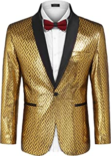 Men's Fashion Suit Jacket Blazer One Button Luxury Weddings Party Dinner Prom Tuxedo Gold Silver