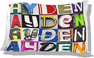 Personalized Pillowcase featuring AYDEN in photos of sign letters