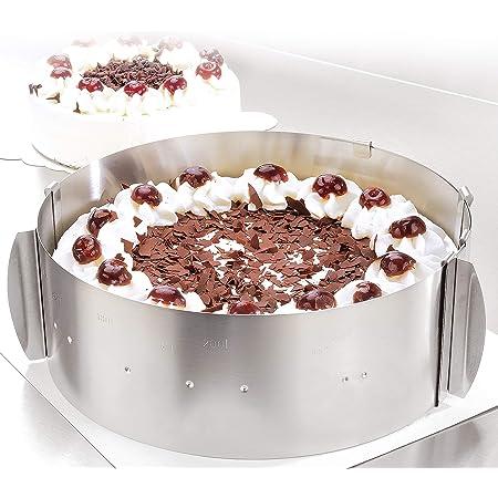 Cercle à tarte – Des créations de tartes magiques pour toutes les occasions – Cercle pâtisserie en inox réglable et fixable par pinces – Hauteur : 8,5 cm – Made in Germany