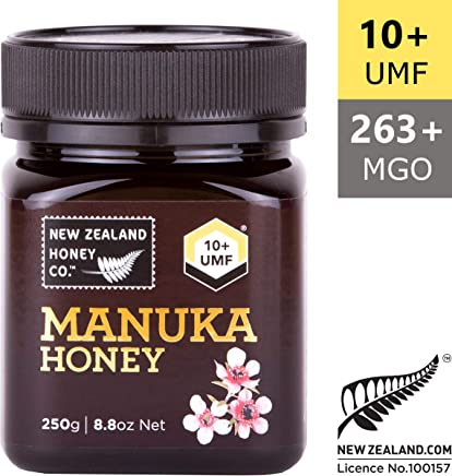 New Zealand Honey Co. Raw Manuka Honey UMF 10+ (MGO 263) | 250g | From the Remote Wild South Island Region | Non GMO, No Antibiotics, No Additives, Quality Guaranteed