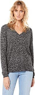 French Connection Women's Monochrome Animal Knit, Charcoal/Black