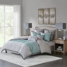 Hampton Hill Tranquility Queen Size Bed Comforter Duvet 2-In-1 Set Bed In A Bag - Teal Grey , Pieced – 8 Piece Bedding Sets – Ultra Soft Microfiber Bedroom Comforters