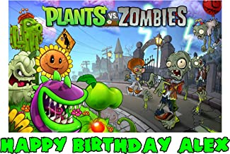 Plants Vs Zombies Edible Image Photo Sugar Frosting Icing Cake Topper Sheet Personalized Custom Customized Birthday Party - 1/4 Sheet - 76567
