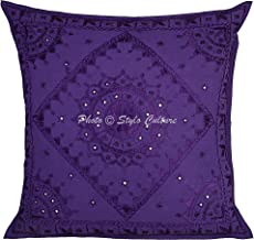 Stylo Culture Indian Artisan Couch Pillow Cover Purple Couch Pillow Mirrored Embroidered 60x60 Sofa Cushion Covers Cotton ...