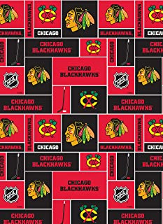 Chicago Blackhawks Super Soft Fleece Fabric Classic Geometric Design-Sold by The Yard