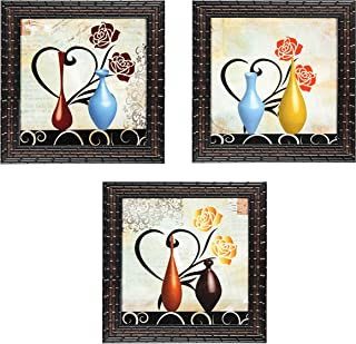 Indianara Set of 3 Abstract Modern Flowers in Vases Framed Wall Hanging Laminated Paintings Matt Art Prints 9 inch x 9 inc...