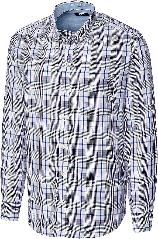 Cutter & Buck Big and Tall Non-Iron Aidan Plaid Sport Shirt