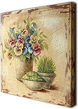 CVHOMEDECO. Vintage Distressed Hand Painted Wooden Frame Wall Hanging 3D Painting Landscape Art Décor, Flower in Planter D...