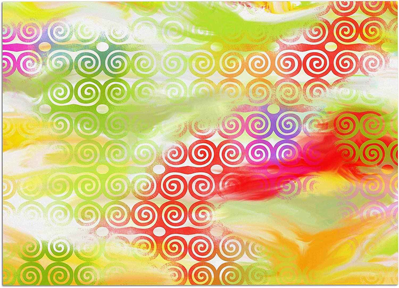 KESS InHouse DS1007ADM02 Dan Sekanwagi Locked Ram's Horns Rainbow Abstract Dog Place Mat, 24  x 15