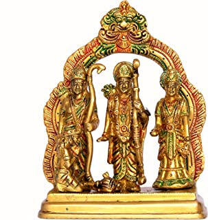 StonKraft Brass Ram Darbar (Rama,Sita,Laxman,Hanuman) Murti Idol Statue Sculpture (6.75