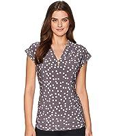 Anne Klein V-Neck Pleat Top w/ Side Shirring - Dot Print Ity