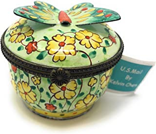 Kelvin Chen Enameled Postage Stamp Dispenser - Floral with 3-D Butterfly, 2.25 Round