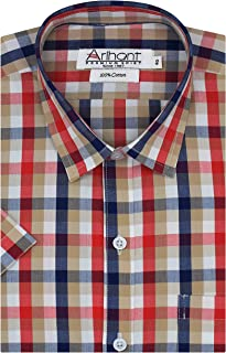 Arihant Checkered 100% Cotton Half Sleeves Regular Fit Formal Shirt for Men