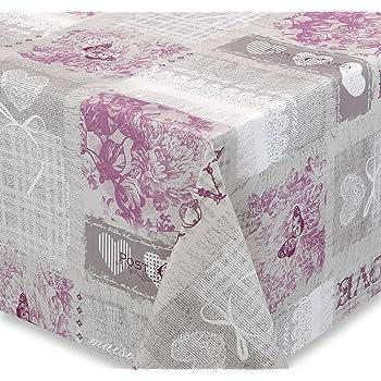 C/œur Roses Taille au choix Lavable Amour Gris 140 x 140cm Toile cir/ée Nappe en toile cir/ée Antique Fleurs gris