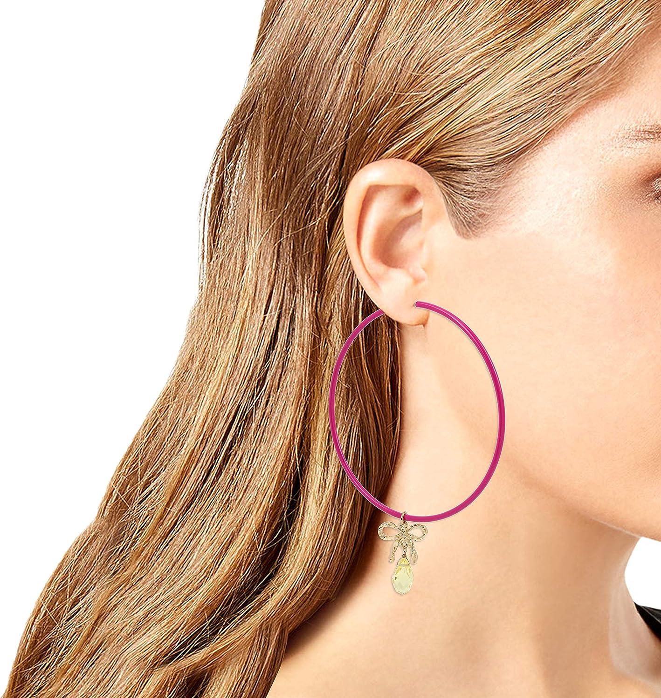 Betsey Johnson Bow Charm Large Hoop Earrings