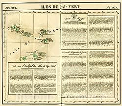 Historic Pictoric Map : Iles du Cap Vert. Afrique Eighteen bis, eighteen27, Vintage Wall Decor : 50in x 44in