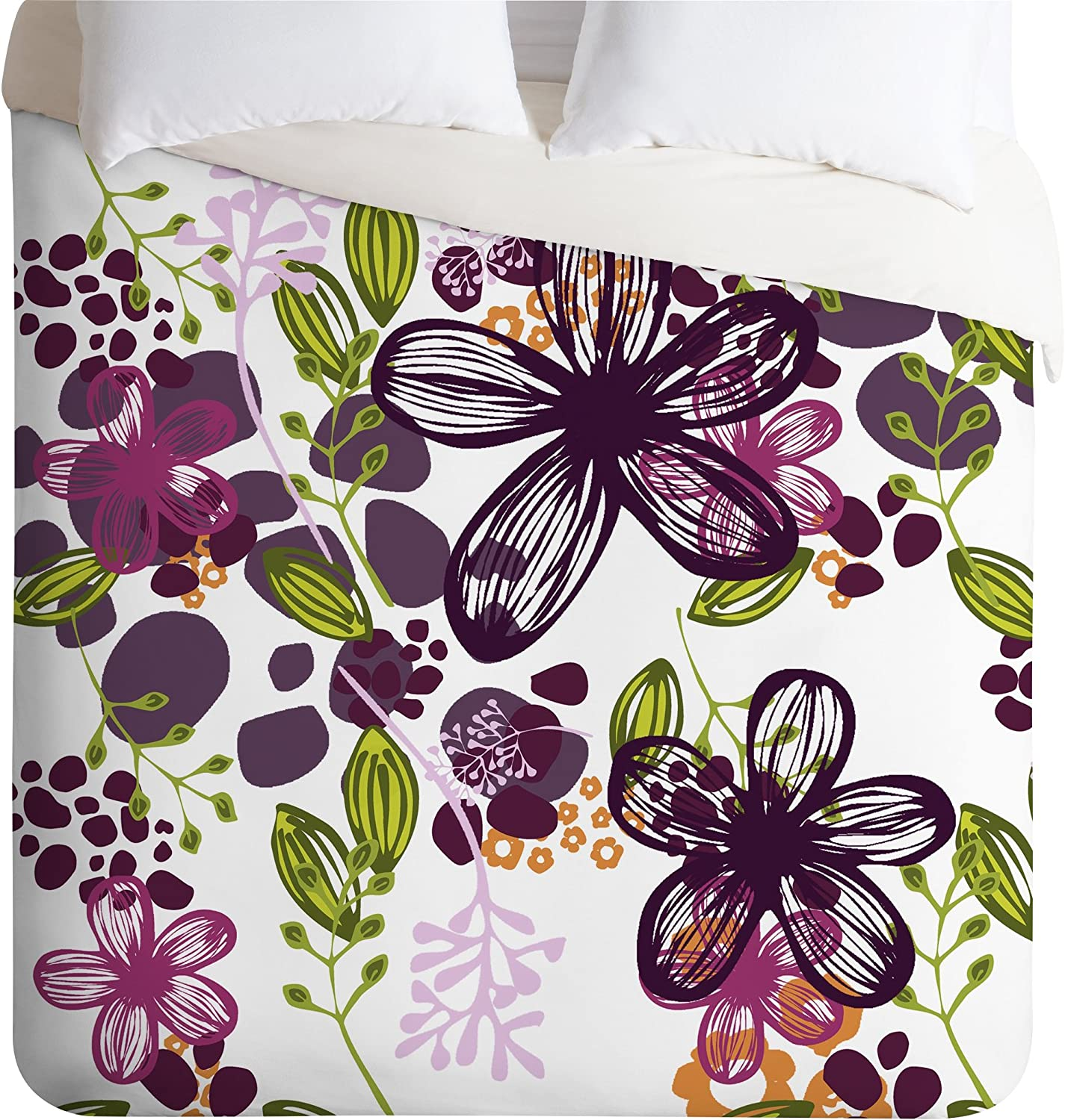 Amazon Com Deny Designs Natalie Baca Floral In Plum Duvet Cover Queen Home Kitchen