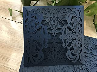 Dark Navy Blue 50pieces Laser Cut 4 Gatefold Invitations,Laser Cut Wedding Invitation,Elegant Invitations,Lace Paper Invite,Invitation Cards,5.95.9 inches Wedding Cards,Greeting Cards