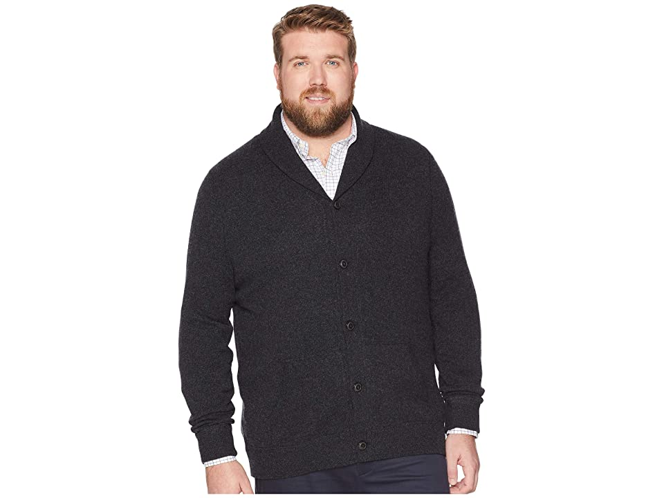 Polo Ralph Lauren Big Tall Wool Shawl Cardigan (Deep Black Heather) Men