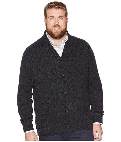 Polo Ralph Lauren Big & Tall Big Tall Wool Shawl Cardigan (Deep Black Heather) Men