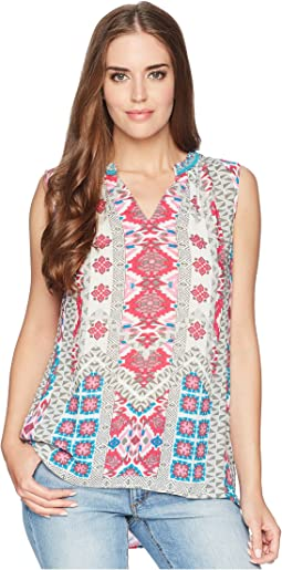 Tribal Printed Sleeveless Blouse w/ Beads At Neck