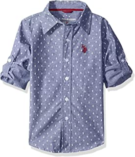 Boys' Long Sleeve Printed Chambray Woven Shirt