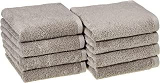 AmazonBasics Quick-Dry Hand Towels, 100% Cotton, Set of 8, Platinum