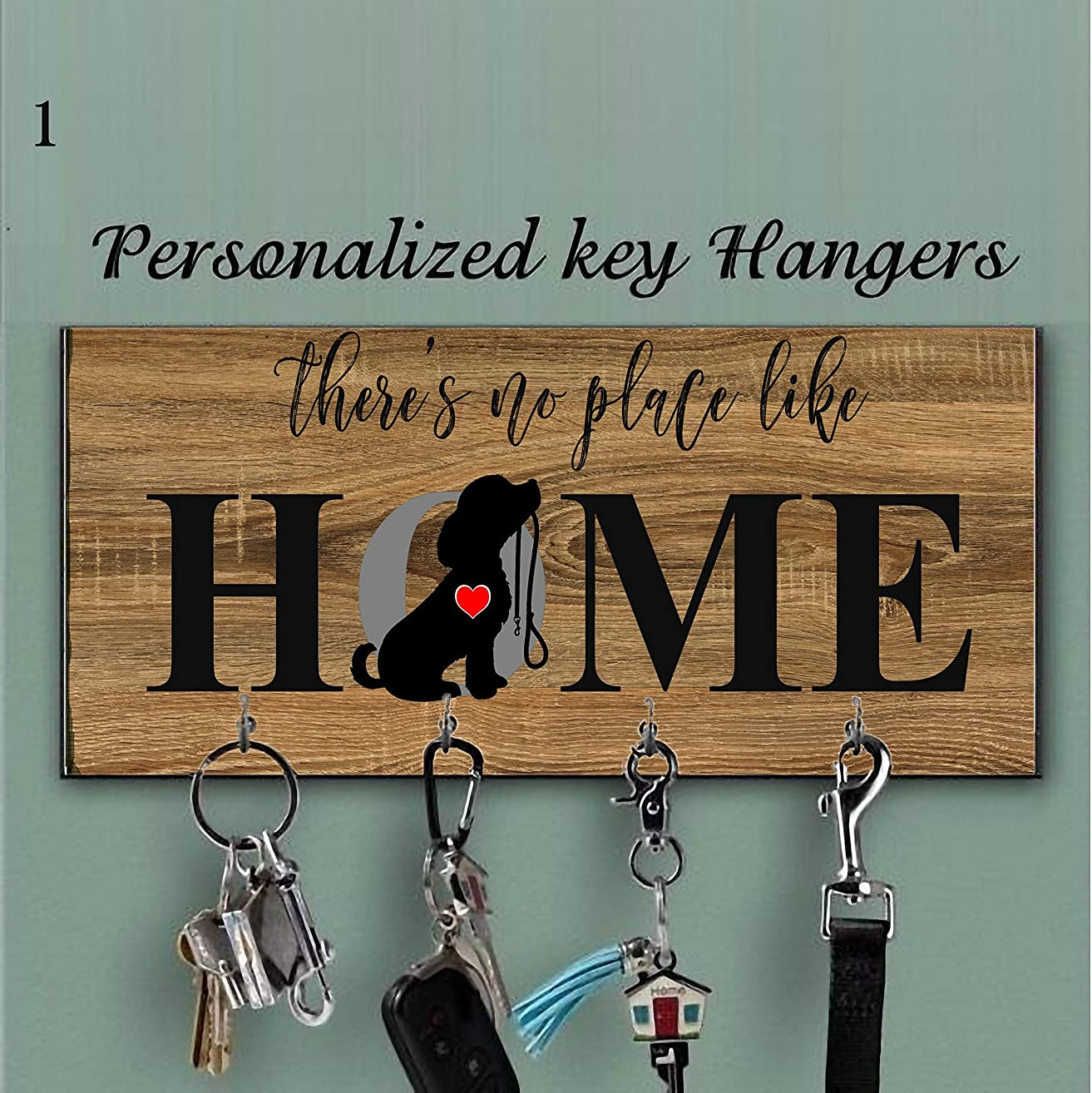 Personalized key holder and Dog Leash hanger for wall, Dog lovers Key Hanger, Housewarming Gift, Dog lovers Gift, Wall Key Rack,Housewarming Gift, Dog Leash Hook, HOME Pet Decor, Personalized Sign