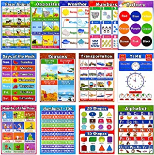 Educational Preschool Posters for Kids Toddlers, Laminated Early Learning Charts Set with Tape for Nursery Homeschool Kind...