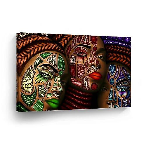 8702b4341c0 SmileArtDesign Three African Women Stylish Make up Modern Art Painting Canvas  Print Decorive Wall Art African