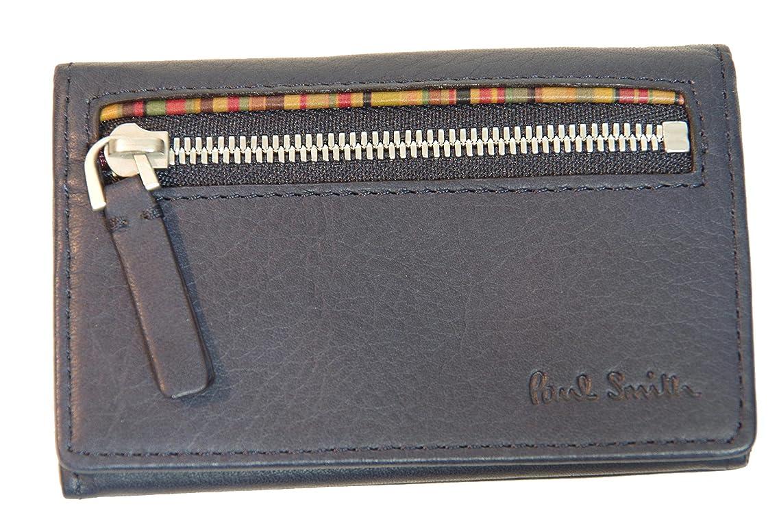 語不承認サイレントポールスミス PaulSmith カードケース 名刺入れ 小銭入れ 財布 マルチストライプ ネイビー U81330 メンズ 新品正規品