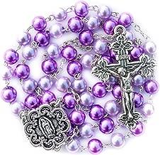Big A Solutions Rosary Beads Catholic - Rosario - Handmade - Blue Rosary - Purple Rosary - Pink Rosary - Imitation Pearl - Free Velvet Pouch - Catholic Gift idea